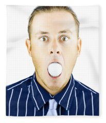 Dumbfounded Man Silenced By A Golf Ball Fleece Blanket