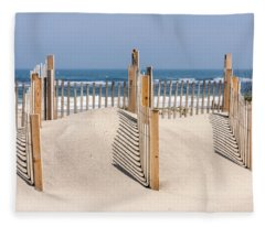 Dune Fence Landscape Fleece Blanket