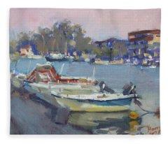 Dusk At Chalkoutsi's Harbor Greece Fleece Blanket