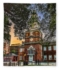 Dusk At Independence Hall Fleece Blanket