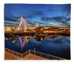 Dusk At The Zakim Bridge Fleece Blanket