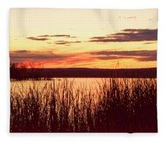 dusk on Lake Superior Fleece Blanket