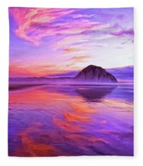 Dusk On The Morro Strand Fleece Blanket