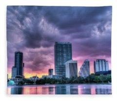 Dusky Downtown Orlando, Florida Fleece Blanket