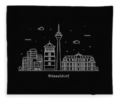 Dusseldorf Skyline Travel Poster Fleece Blanket