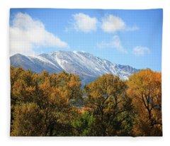 Dusting Of Snow In Fall Fleece Blanket