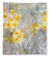 Dusty Miller- Abstract Floral Painting Fleece Blanket
