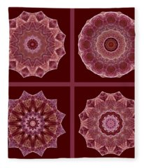 Dusty Rose Mandala Fractal Set Fleece Blanket
