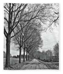 Dutch Road In Winter Black And White Fleece Blanket