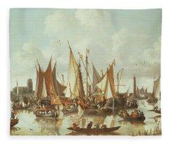 Dutch Ships At Dordrecht Harbor Fleece Blanket