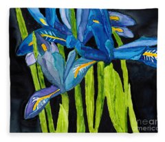 Dwarf Iris Watercolor On Yupo Fleece Blanket