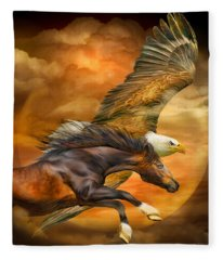 Eagle And Horse - Spirits Of The Wind Fleece Blanket