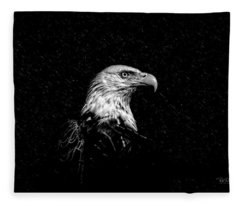 Eagle In Black And White Fleece Blanket