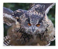 Eagle Owl Close Up Fleece Blanket