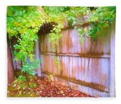 Early Autumn Fence And Vines Fleece Blanket
