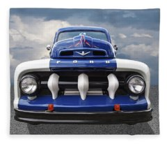 Early Fifties Ford V8 F-1 Truck Fleece Blanket