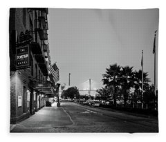 Early Morning At The Bohemian Hotel In Black And White Fleece Blanket