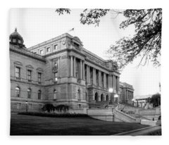 Early Morning At The Library Of Congress In Black And White Fleece Blanket