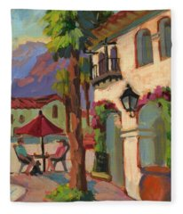 Early Morning Coffee At Old Town La Quinta Fleece Blanket