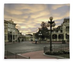 Early Morning Magic Kingdom Walt Disney World Fleece Blanket