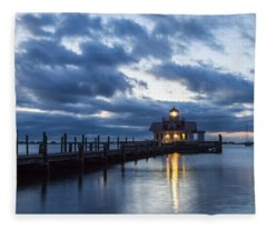 Early Morning Over Roanoke Marshes Lighthouse Fleece Blanket