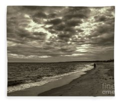 Early Morning Walk On Virginia Beach Fleece Blanket