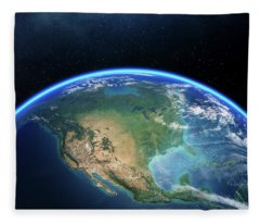 Earth From Space North America Fleece Blanket
