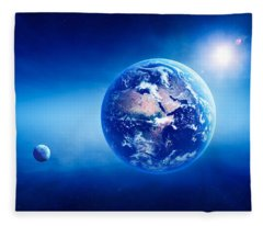 Earth Sunrise Deep Space Fleece Blanket