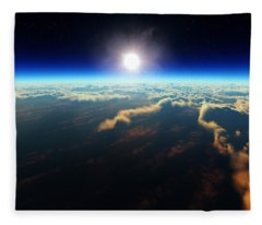 Earth Sunrise From Outer Space Fleece Blanket