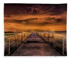 East Lake Pier Topaz Fleece Blanket