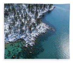 East Shore Winter Aerial By Brad Scott Fleece Blanket