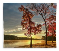 Fleece Blanket featuring the photograph East Texas Autumn Sunrise At The Lake by Todd Aaron