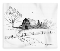 East Texas Hay Barn Fleece Blanket
