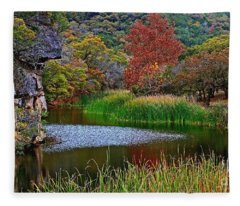 East Trail Pond At Lost Maples Fleece Blanket