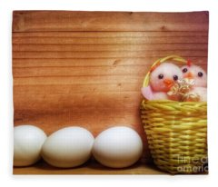 Easter Basket Of Pink Chicks With Eggs Fleece Blanket