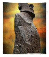 Easter Island Moai Fleece Blanket