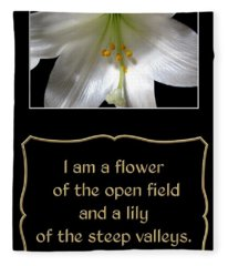 Easter Lily With Song Of Songs Quote Fleece Blanket