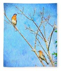 Eastern Bluebird Couple Fleece Blanket