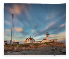 Eastern Point Lighthouse At Sunset Fleece Blanket
