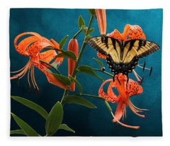 Eastern Tiger Swallowtail Butterfly On Orange Tiger Lily Fleece Blanket