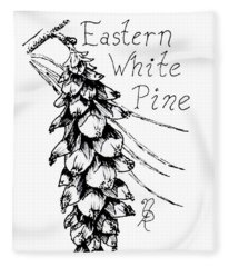 Eastern White Pine Cone On A Branch Fleece Blanket
