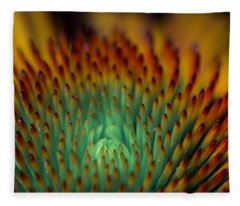Echinacea Macro Fleece Blanket