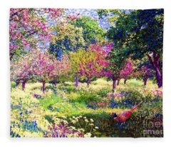 Echoes From Heaven, Spring Orchard Blossom And Pheasant Fleece Blanket