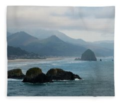 Ecola State Park View Of Haystack Rock And 3 Arch Rocks Fleece Blanket