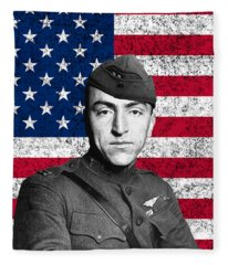 Eddie Rickenbacker And The American Flag Fleece Blanket