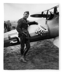Eddie Rickenbacker - Ww1 American Air Ace Fleece Blanket