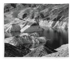 Edge Of Lake Mead Bw Fleece Blanket