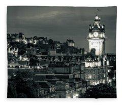 Edinburgh In Black And White Fleece Blanket