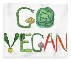 Editorial Illustration Go Vegan Fleece Blanket