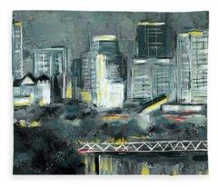 Edmonton Cityscape Painting Fleece Blanket